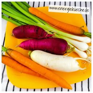 Energieküche: Rettich, Karotten und Frühlingszwiebeln