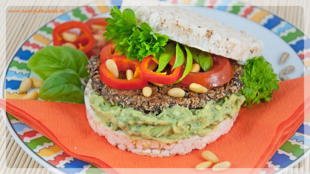Leichter Veggie-Burger mit den fünf Elementen