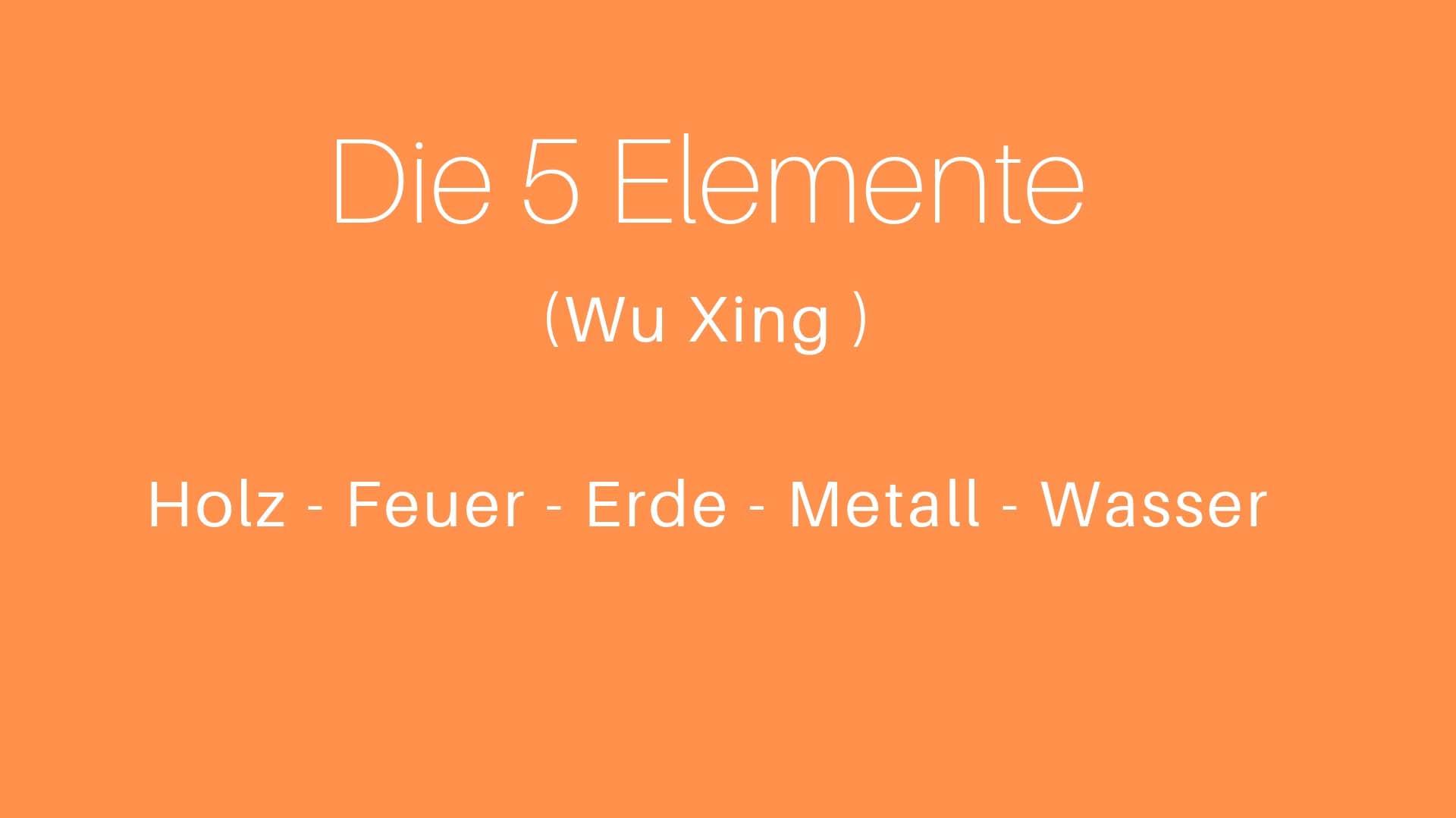 Die 5 Elemente der TCM / Wu Xing
