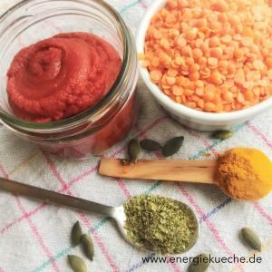 Linsen, Tomaten-Mark, Gewürze